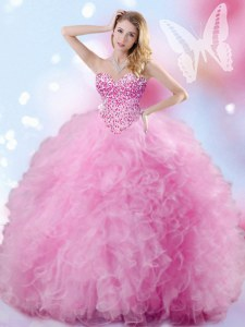Custom Made Rose Pink Sweetheart Neckline Beading and Ruffles Quinceanera Dress Sleeveless Lace Up
