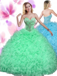 Sleeveless Beading and Ruffles Floor Length Quince Ball Gowns
