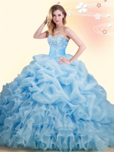 Baby Blue Ball Gowns Beading and Ruffles and Pick Ups 15 Quinceanera Dress Lace Up Organza Sleeveless With Train