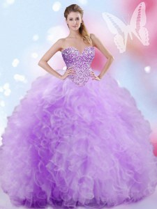 Wonderful Lavender Ball Gowns Tulle Sweetheart Sleeveless Beading and Ruffles Floor Length Lace Up 15 Quinceanera Dress