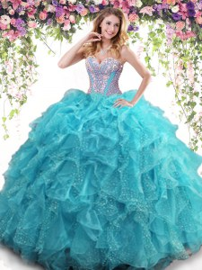 Aqua Blue Lace Up Sweetheart Beading and Ruffles Quinceanera Gowns Organza Sleeveless
