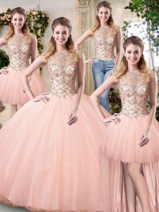 Scoop Floor Length Lace Up 15 Quinceanera Dress Peach for Military Ball and Sweet 16 and Quinceanera with Beading