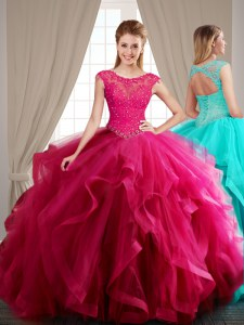 Fashionable Scoop Hot Pink Cap Sleeves Brush Train Beading and Appliques and Ruffles With Train Quinceanera Gown