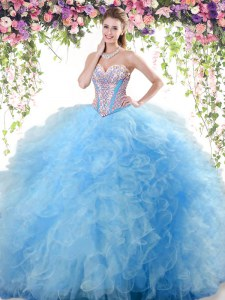 Sleeveless Tulle Floor Length Lace Up 15th Birthday Dress in Baby Blue with Beading and Ruffles