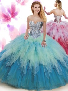Latest Sleeveless Lace Up Floor Length Beading and Ruffles Sweet 16 Dress
