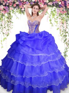 Vintage Blue Ball Gowns Organza Sweetheart Sleeveless Beading and Ruffled Layers and Pick Ups Floor Length Lace Up Quinceanera Gown