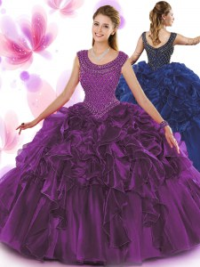 Clearance Dark Purple Ball Gowns Organza Scoop Sleeveless Beading and Ruffles Floor Length Zipper Sweet 16 Dresses