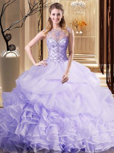 Scoop Sleeveless Beading and Ruffles and Pick Ups Lace Up 15th Birthday Dress with Lavender Brush Train