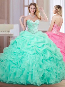 Fine Sleeveless Organza Floor Length Lace Up Sweet 16 Quinceanera Dress in Apple Green with Beading and Ruffles and Pick Ups