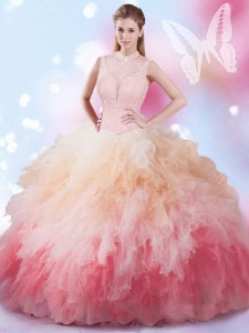 Shining Multi-color Sleeveless Tulle Lace Up Sweet 16 Dresses for Military Ball and Sweet 16 and Quinceanera