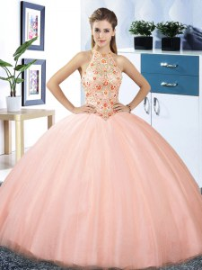 Halter Top Floor Length Ball Gowns Sleeveless Peach Quinceanera Gown Lace Up