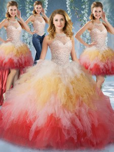 Customized Four Piece Halter Top Floor Length Ball Gowns Sleeveless Multi-color Quinceanera Gown Lace Up