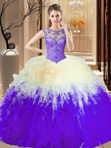 Inexpensive Scoop Multi-color Ball Gowns Beading 15 Quinceanera Dress Lace Up Tulle Sleeveless Floor Length