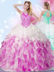 Suitable Halter Top Multi-color Lace Up Quinceanera Dresses Beading and Ruffles and Pick Ups Sleeveless Floor Length