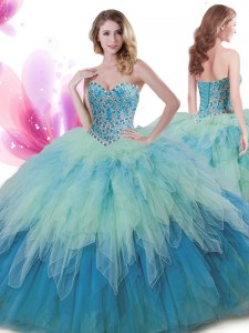 Best Selling Tulle Sleeveless Floor Length Ball Gown Prom Dress and Beading and Ruffles