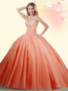 Floor Length Ball Gowns Sleeveless Orange Red Quinceanera Dresses Lace Up