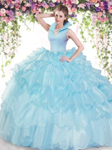 Top Selling Baby Blue Organza Backless High-neck Sleeveless Floor Length Quince Ball Gowns Beading and Ruffled Layers