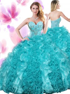 Great Teal Lace Up Sweet 16 Dresses Beading and Ruffles Sleeveless Floor Length