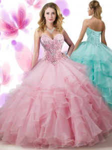 Eye-catching Pink Lace Up 15th Birthday Dress Beading and Ruffled Layers Sleeveless Floor Length