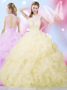 Sleeveless Lace Up Floor Length Beading and Ruffles and Pick Ups Quinceanera Gown