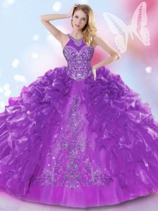 Purple Quinceanera Gowns Military Ball and Sweet 16 and Quinceanera and For with Appliques and Ruffled Layers Halter Top Sleeveless Lace Up