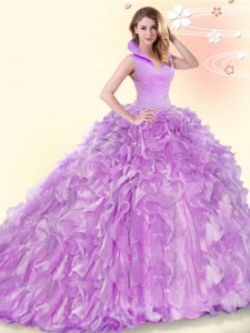 Lilac 15th Birthday Dress High-neck Sleeveless Brush Train Backless