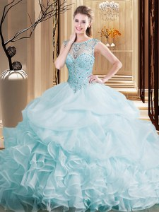 Sweet Pick Ups Scoop Sleeveless Brush Train Lace Up Quinceanera Dresses Light Blue Organza