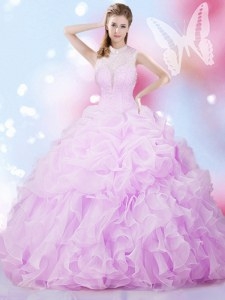 Lilac Organza Lace Up Sweet 16 Dress Sleeveless Floor Length Beading and Ruffles and Pick Ups