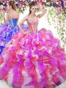 Fashion Sweetheart Sleeveless Organza Vestidos de Quinceanera Beading and Ruffles Lace Up