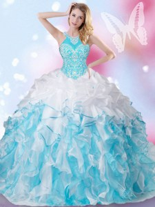 Halter Top Blue And White Organza Lace Up 15th Birthday Dress Sleeveless Floor Length Beading and Ruffles and Pick Ups
