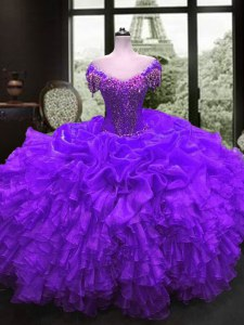 Cap Sleeves Floor Length Beading and Ruffles Lace Up Sweet 16 Dresses with Purple