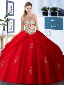 Amazing Red Halter Top Neckline Embroidery and Pick Ups Sweet 16 Dresses Sleeveless Lace Up