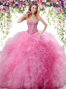 Glittering Sleeveless Beading and Ruffles Lace Up Quinceanera Gowns