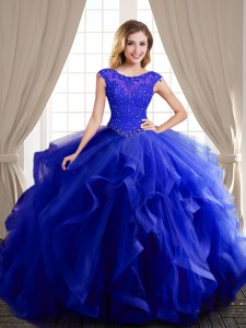 Royal Blue Lace Up Scoop Beading and Appliques and Ruffles Sweet 16 Quinceanera Dress Tulle Cap Sleeves Brush Train