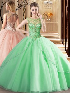 Apple Green Quinceanera Dress Scoop Sleeveless Brush Train Lace Up