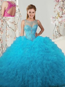 Dramatic Baby Blue Scoop Lace Up Beading and Ruffles Quinceanera Gown Sleeveless