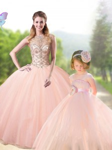 Lovely Scoop Floor Length Lace Up Quinceanera Dresses Peach for Military Ball and Sweet 16 and Quinceanera with Beading