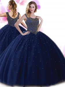Tulle Scoop Sleeveless Zipper Beading 15th Birthday Dress in Navy Blue