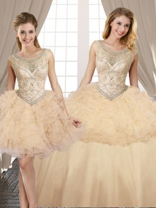 Adorable Three Piece Champagne Lace Up Scoop Beading and Ruffles 15 Quinceanera Dress Organza and Tulle Sleeveless