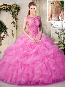 Fashion Scoop Floor Length Lace Up Quinceanera Gowns Rose Pink for Military Ball and Sweet 16 and Quinceanera with Beading and Ruffles and Pick Ups