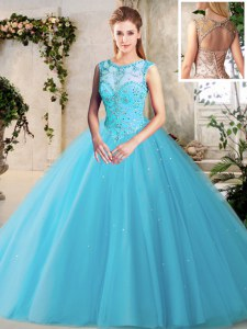 Scoop Floor Length Lace Up 15th Birthday Dress Baby Blue for Military Ball and Sweet 16 and Quinceanera with Beading