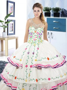 White Lace Up Scoop Beading and Embroidery and Ruffled Layers Sweet 16 Dress Organza and Taffeta Sleeveless