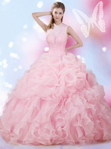 Sleeveless Floor Length Beading and Ruffles and Pick Ups Lace Up Sweet 16 Dress with Baby Pink