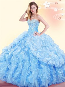 Captivating Baby Blue Lace Up Sweetheart Beading and Ruffles and Pick Ups Quinceanera Dress Organza Sleeveless