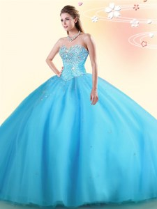 Adorable Baby Blue Sleeveless Floor Length Beading Lace Up 15 Quinceanera Dress