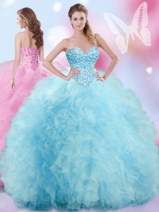 Flirting Baby Blue Tulle Lace Up Sweetheart Sleeveless Floor Length Ball Gown Prom Dress Beading and Ruffles