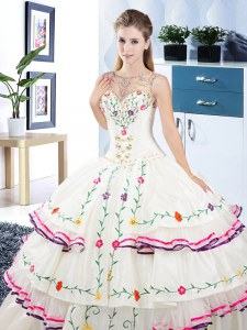 New Style Scoop Sleeveless Floor Length Beading and Embroidery and Ruffled Layers Lace Up Quinceanera Gown with White