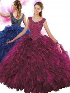 Fuchsia Ball Gowns Organza Scoop Sleeveless Beading and Ruffles Floor Length Zipper Sweet 16 Dress