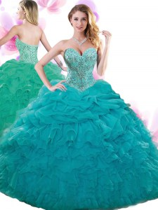 Teal Sweetheart Neckline Beading and Ruffles and Pick Ups Vestidos de Quinceanera Sleeveless Lace Up