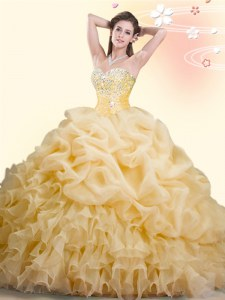 Pick Ups With Train Ball Gowns Sleeveless Gold 15 Quinceanera Dress Brush Train Lace Up